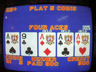 Aces on a Double Bonus Poker Machine
