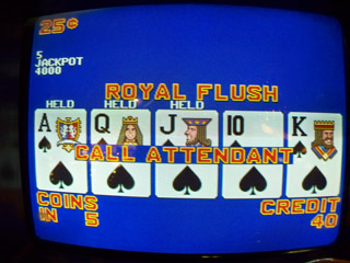 Bob's second Royal Flush of the trip -- note the 40 credits