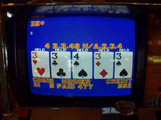 Dealt bonus 3s with kicker on B4 for Sharon