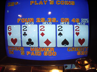 Annie's Deuces on a Triple Bonus Plus were dealt...