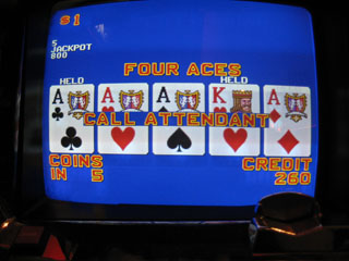 Note the 260 credits -- Shar had Kings then Aces on the next hand -- note that she held a King by mistake...