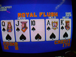 Bob's only royal flush of the trip, on the GM machine
