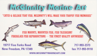 McGinnity Marine Art Fish Taxidermy and Fiberglass Reproductions